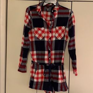 Cute flannel shirt pajamas